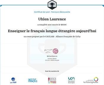 certificat MOOC CAVILAM